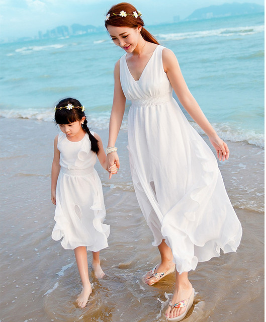 Fashion Mom And Daughter Lace Beach Dress V Neck Swimsuits Women's Swimwear Mother Daughter Matching white chiffon long Dresses
