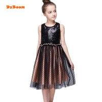 DzBoom 2017 Hot Fashion Baby Girl Sequined Dress Casual Summer Style Black Dots Sleeveless Mesh Dress