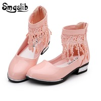 Smgslib Kids Girls Shoes Wedding Party Dress Shoes For Girls Flower Lace Tassel Girls Leather Pink