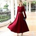 Платье Высокого Качества 2017 новых прибытия весна Осень длинные Maxi Dress Женщины С Длинным Рукавом dress