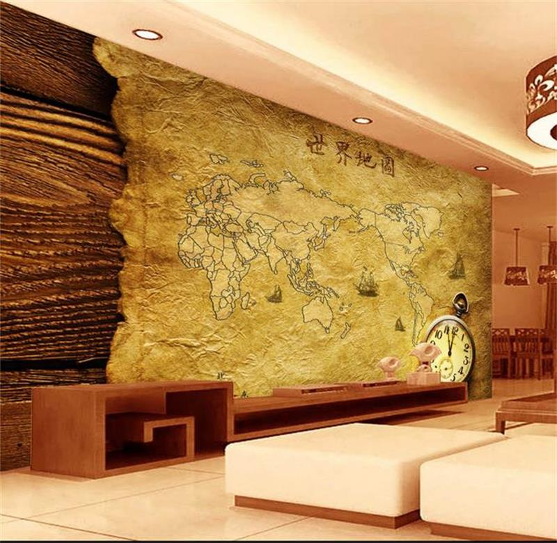3d room wallpaper custom photo murals non-woven wall sticker World map of classical kraft paper murals wallpaper for walls 3d