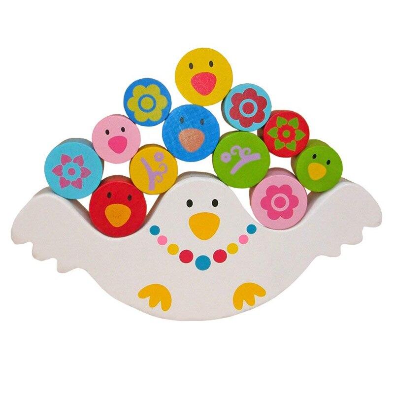 Balancing Frame Baby Learning Montessori Wood Toys Cute Bird Block Balance Kindergarten Early Teaching Development