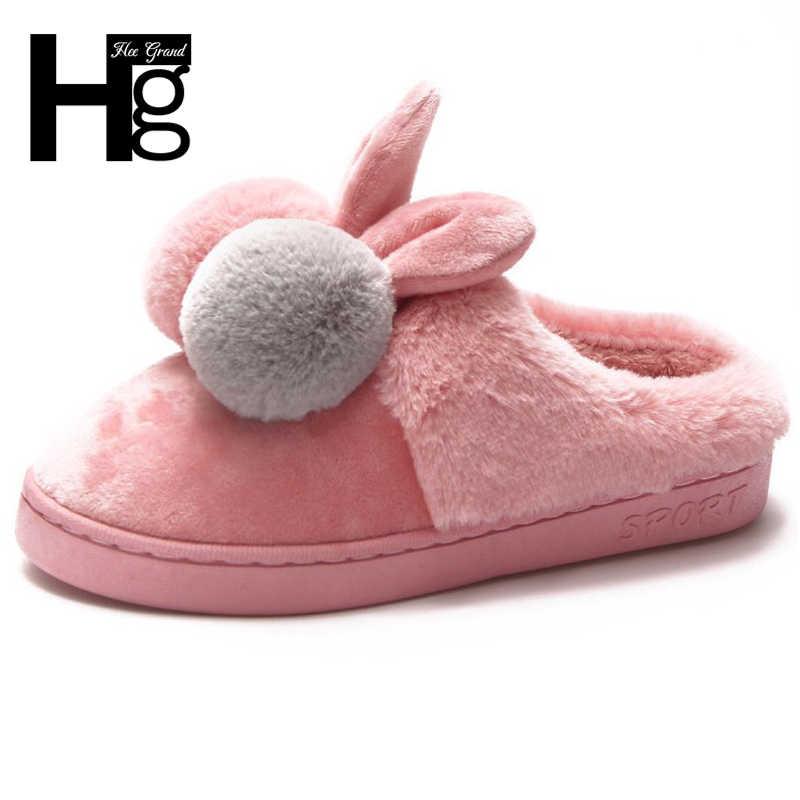 5076eb99e HEE GRAND/женские милые кукольные тапочки с ушками, мягкая теплая обувь из  искусственного меха