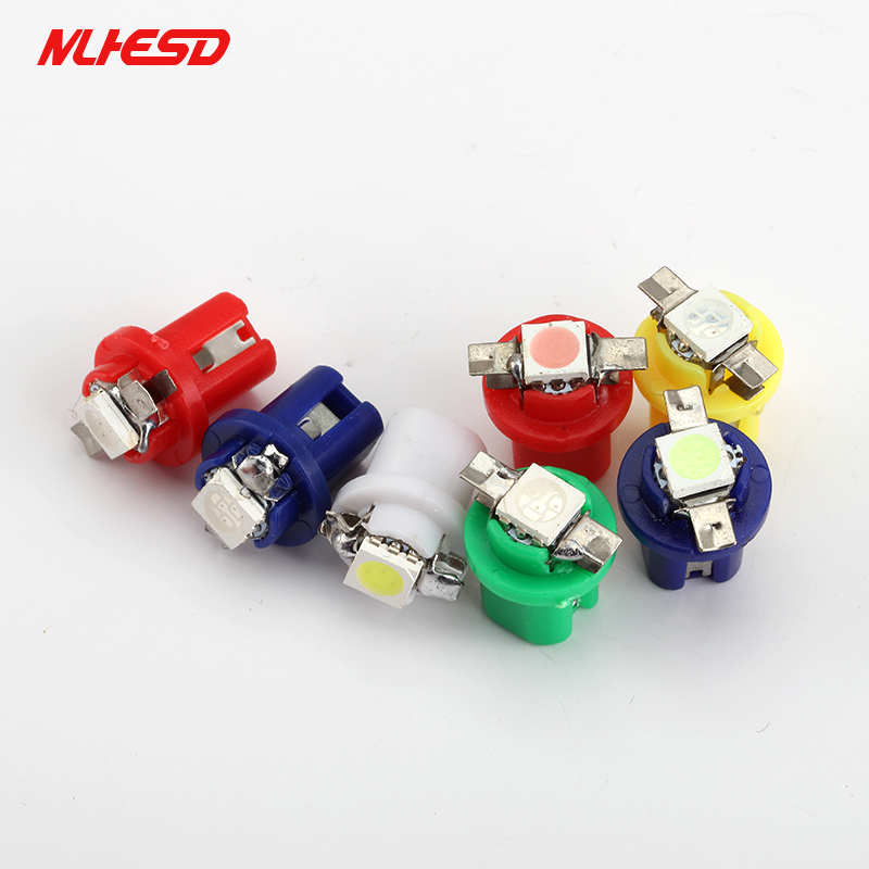 10pcs 24V Truck T5 B8.5 1 SMD B8.5D LED Wedge Instrument Cluster Panel Speedometer Lamp Bulb Gauge Dash Light White Red blue
