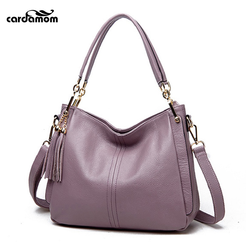 Cardamom Real Genuine Leather Women Handbags Solid Cow Leather Tote Bag Ladies Shoulder Bags Crossbody Bags for Women