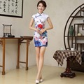 Retro Sexy Chinese Tang Suit Qipao Costumes Short Cheongsam Dresses Chinese Traditional Dress