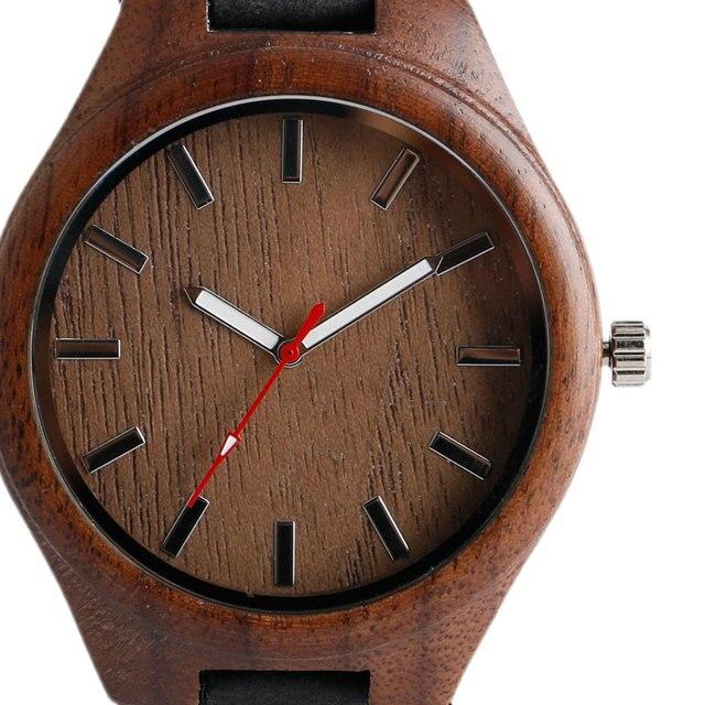 Cool bambou Natura bois montre cadran spécial hommes femmes montres mode en cuir véritable bande bracelet montre-bracelet 4
