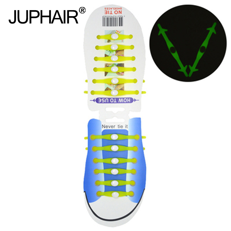 JUP1-12Sets(12Root/Set)Fluorescent yellow Noctilucent Laces Silicone Men Women Fluorescent Flash Sneakers Sport Running Shoelace jup 3 set 12root set noctilucent laces tie elastic silicone mens women fluorescent flash sneakers sports runnings shoelaces