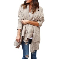 Autumn Spring Women Solid Color Knitwear Cardigan Loose Large Size Double Pocket Irregular Lapel Sweater