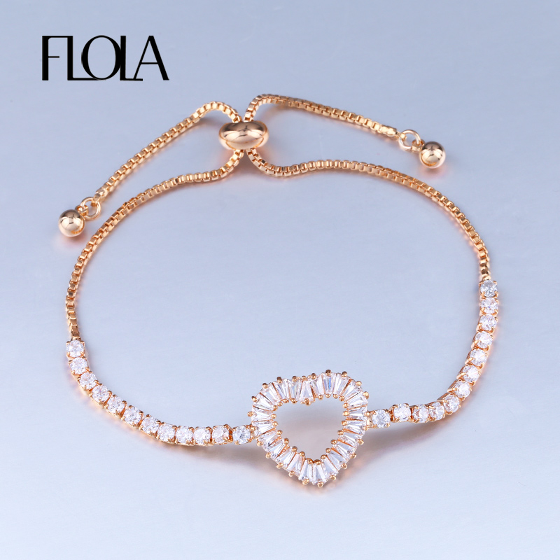 Us 4 9 Aliexpress Flola Rose Gold Bracelet Heart Shape Adjule Chain Women Cubic Zirconia Jewelry Gift For Femme