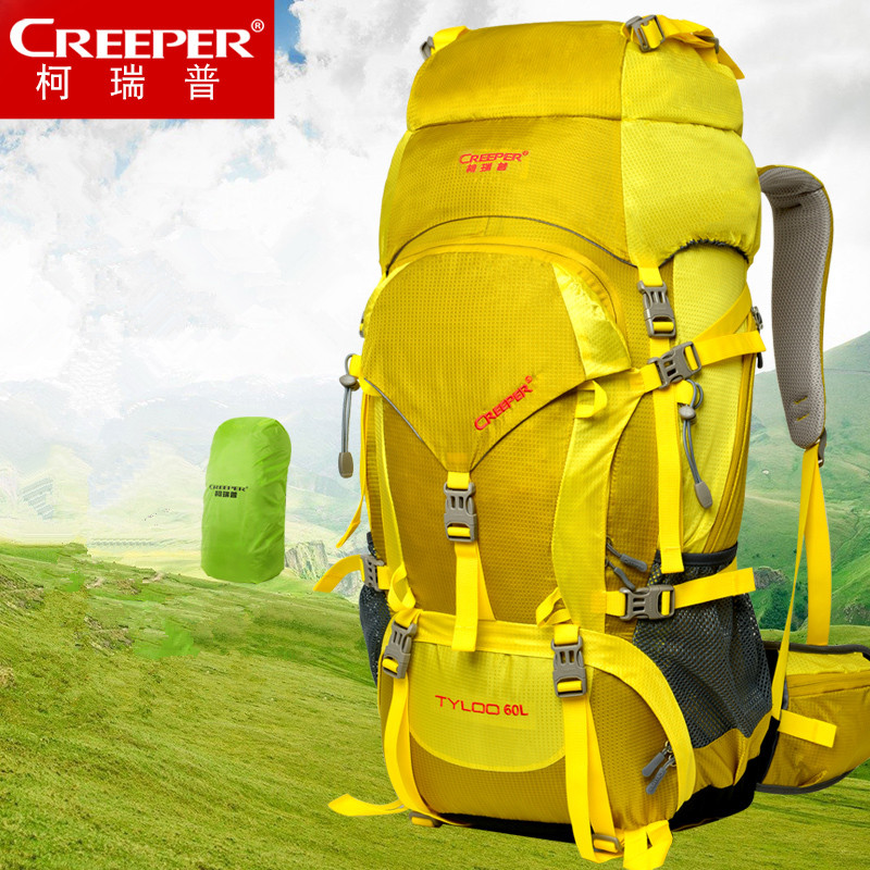 Creeper Camping Backpack Nylon Mochilas Sports Bags 60l Travel Climbing Bag Outdoor  Hiking Big Capacity Mountaineering Knapsack 60l outdoor backpack professional climbing bags mountaineering waterproof backpacking camping bolsa hiking camelback sports bag