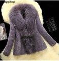 New 2016 Fashion Fur Coats plus size Real Fur Coats Women Rabbit fur coat with Raccoon Collar Outerwear & Coats free shipping