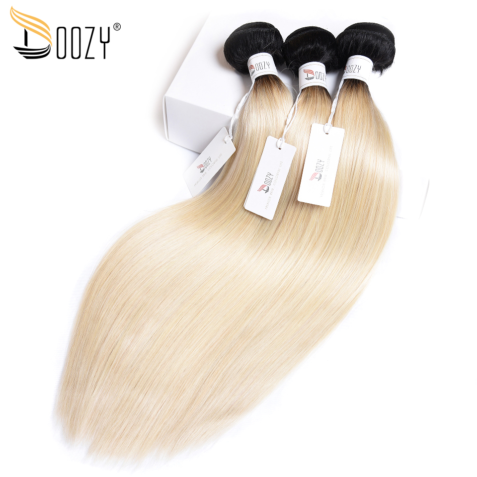 Doozy ombre 1b/613 Brazilian straight hair bundles two tone color russian blonde non remy double weft human hair weaving