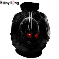BIANYILONG Autumn Winter Fashion Men Women Hoodies Red Eyes Skull Head Hooded Hoody Sweatshirt 3D Lovely