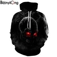 BIANYILONG Autumn Winter Fashion Men Women Hoodies Red Eyes Skull Head Hooded Hoody Sweatshirt 3D Lovely