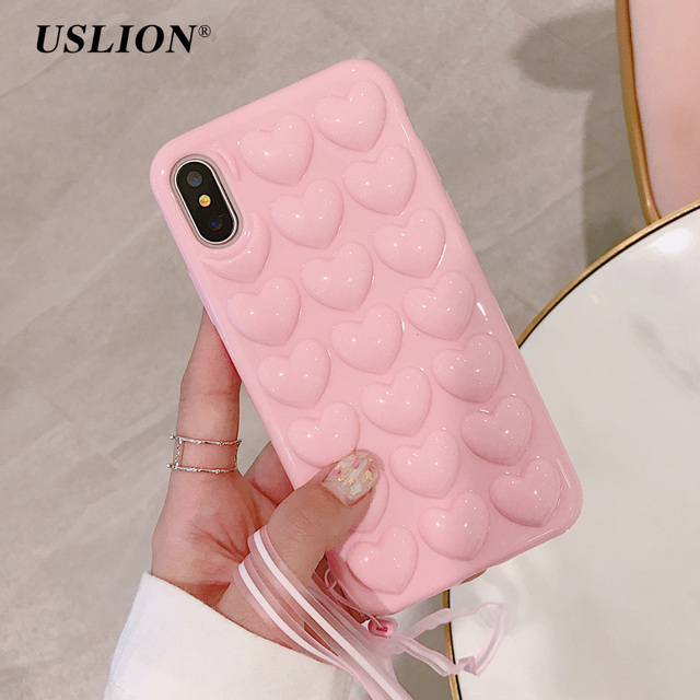 USLION 3D Love Heart Phone Case For iPhone X Cartoon Cases For iPhone 7 8 6 6S Plus Soft TPU Protection Back Cover With Lanyard