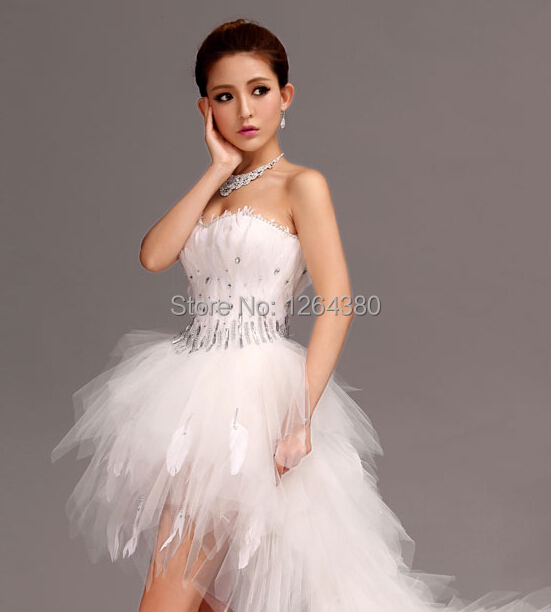 feather wedding dress short front long back sweet tube princess
