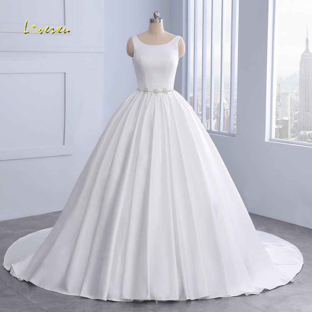 Loverxu Vestido De Noiva Backless Vintage Ball Gown Wedding Dress 2019  Crystal Sashes Matte Satin Princess 0574db64dcd3