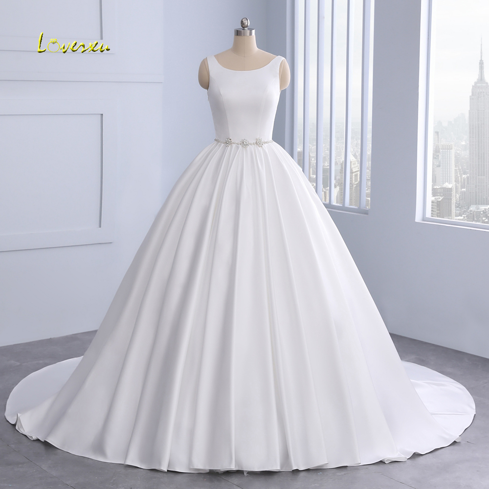 Crystal Wedding Gown: Loverxu Vestido De Noiva Backless Vintage Ball Gown
