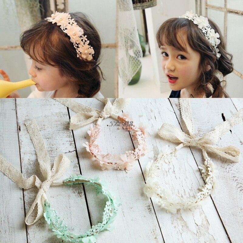 2017 Baby Girl Kid Retro Hair Band Toddler Headband Elegance Lace Flower Hairband MAR1_30