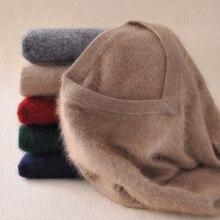 Suéter de cachemira de visón para hombre, jerséis de manga larga, prendas de vestir para hombre, suéteres con cuello en V, Tops holgados de corte sólido, ropa de punto en 9 colores