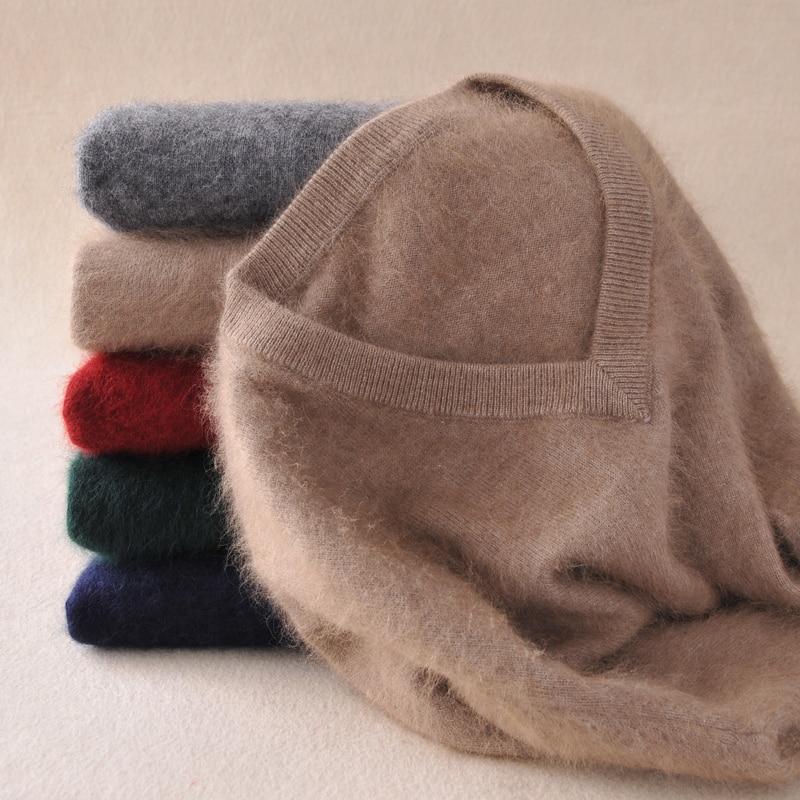 Vison cachemire pull hommes à manches longues pulls Outwear homme v-cou chandails hauts lâche solide Fit tricot vêtements 9 couleurs nouveau
