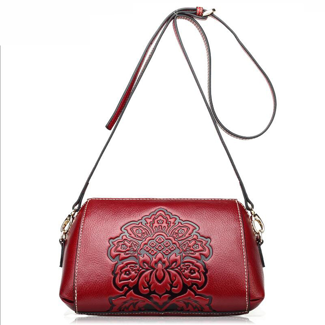2016 New genuine leather women bag fashion chinese style women luxury shoulder messenger bag top quality cowhide embossing
