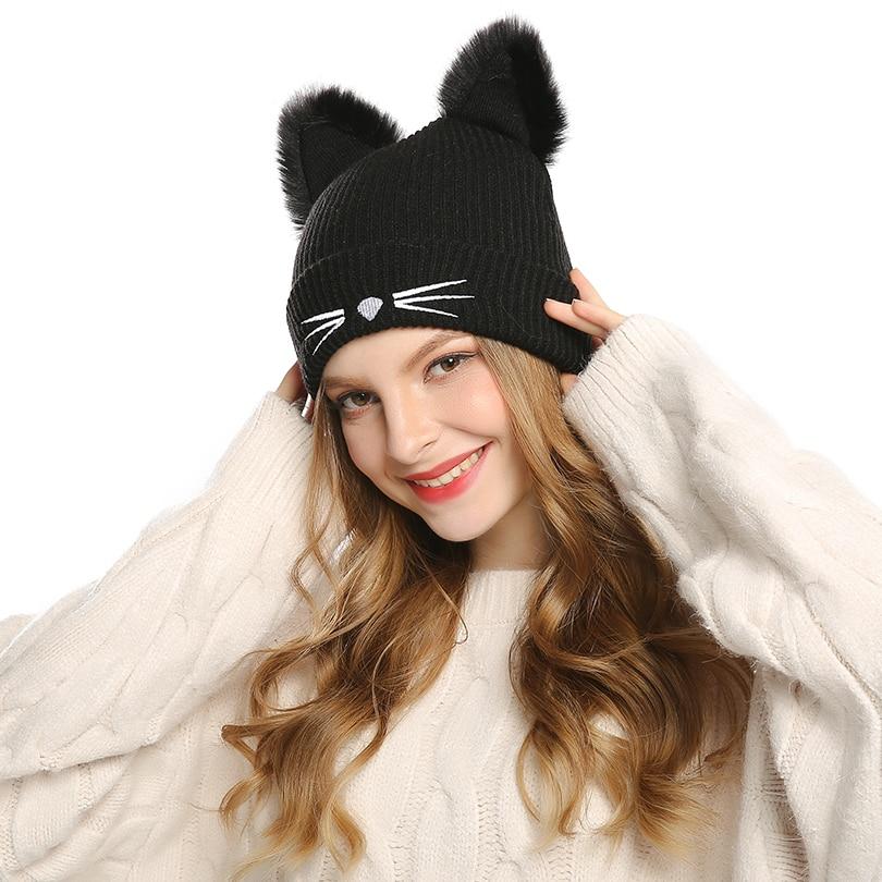 Knitted Womens Cat Ears Hats Skullies Fur Pompom Caps Female Beanies Cap Girls