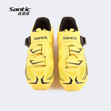 Santic Carbon Fiber Self-Locking Cycling Shoes Men Bike Shoes Breathable Mountain Bicycle Yellow PU Sport Shoes Zapatillas