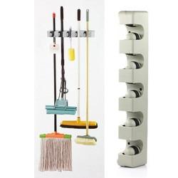5 Position Mop Broom Holder Tool Kitchen Organizer Wall Mounted Hanger 5 Position Bathroom Mop Broom Holder Organizing Tools