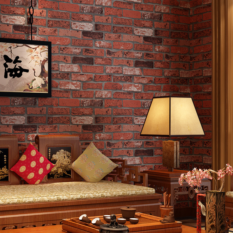brick red living room beibehang pvc retro brick wall hotel hotel factory 14387