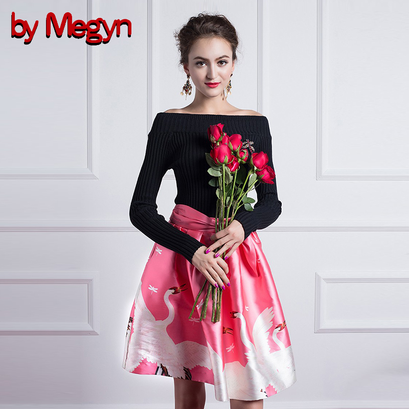by Megyn 2017 autumn woman suits elegant set off shoulder knitted sweater top and Bow Belt mini skirt two piece set for women
