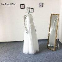 Real Picture Sexy Lace Beach Wedding Dress O Neck 2017 Vestido De Noiva Sleeveless Zipper Back