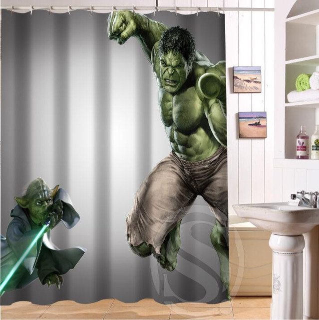 Custom Incredible Hulk And Star Wars Yoda Waterproof Polyester Fabric Bathroom Shower Curtain Standard Size 66