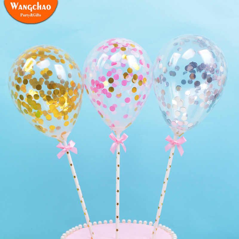Новинка 5 дюймов Латекс Paillette воздушный шар торт Топпер С Днем Рождения украшения торта Дети Малыш душ Мальчики девушки украшения торта