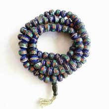 Tibetano 108 pçs yak osso meditação oração mala 8mm azul marinho contas de osso boi bro567