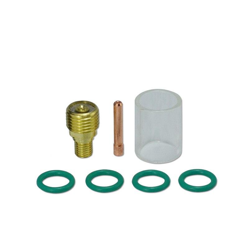 """TIG Gas Lens Collet Body 0.40/"""" /& #10 Pyrex Cup WP 9 20 25 TIG Welding Torch 9PK"""