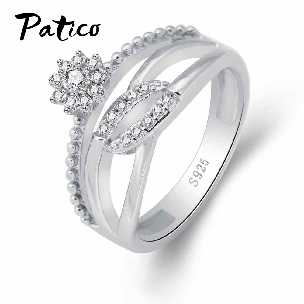 PATICO Sweet Flower Design S90 Silver Jewelry Flower and Leaf Wedding Bands Ring for Women Nice Birthday Gifts