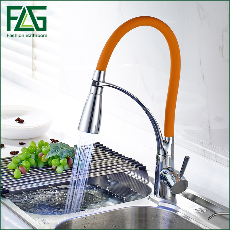LED Swivel Spout Kitchen Sink Faucet Pull Out Hand Spray One Hole Mixer Tap Kitchen Faucet