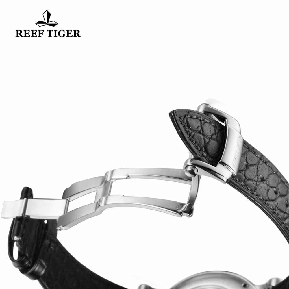 Reef Tiger/RT Bisnis Jam Tangan Pria Otomatis Dress Watch Stainless Steel Alligator Strap Watch dengan Tanggal RGA823