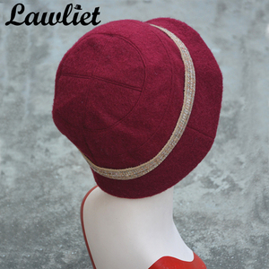 Image 5 - Lawliet פרח תקליטונים נשים חורף כובע צמר מגבעות לבד דלי כובעי אפור שחור גטסבי בציר סגנון קלושים כובעי כנסיית A374