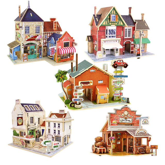 DIY Wooden Assembling House Toys Model 3D Building House Puzzle Kids Educational Toys for Children Castle Model Jigsaw Puzzle