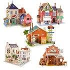 DIY Wooden Assembling House Toys Model 3D Building House Puzzle Kids Educational Toys for Children Castle Model Jigsaw Puzzle