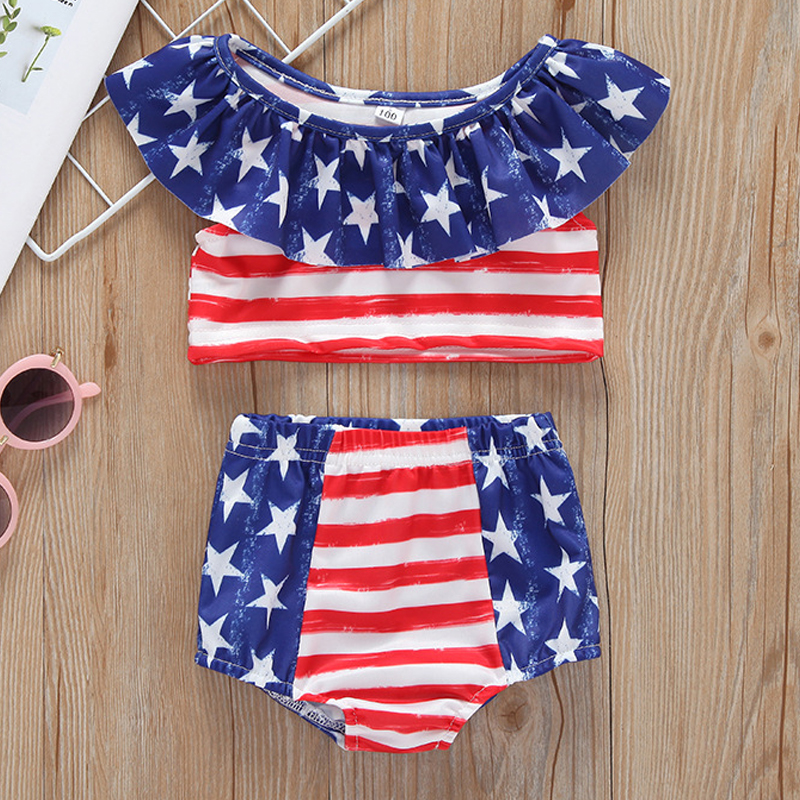 2019 Summer New Childrens Swimwear For Girls Stripe Lotus Leaf Lace Baby Girl Toddler Clothes