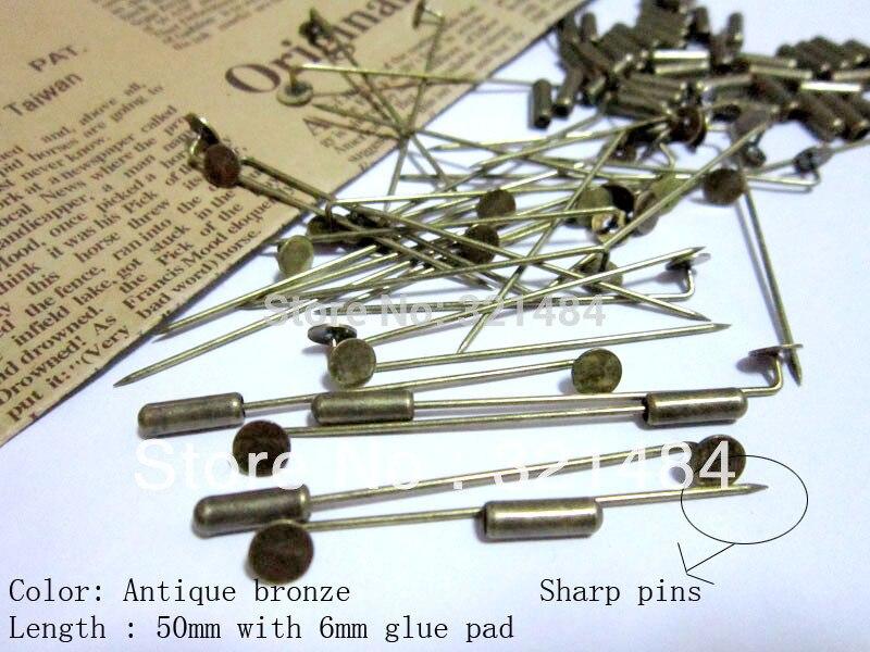 300pcs Antique Bronze w/ 6mm glue pad 50mm stick khaleeji pins, muslim hijab pins safety scarf pins