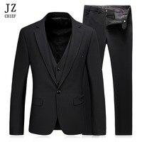 JZ главный Для мужчин костюмы Формальные Блейзер черный Buiness пальто мужской костюм Slim Fit Blazer Свадебные Терно смокинг комплект из 3 предметов (