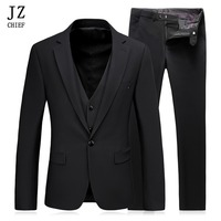 JZ CHIEF Men Suits Formal Blazer Black Buiness Coats Male Suit Slim Fit Blazer Wedding Terno Tuxedo 3 Pieces (Jacket+Vest+Pants)