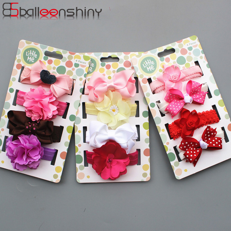 BalleenShiny 4PCS Baby Girls Flowers Headbands Set Child Kids Stretch Headwrap Newborn Infant Fashion Princess Hair Accessories