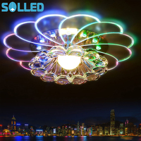 SOLLED NEW 220V Colorful 5W 7 Colors Crystal LED Ceiling Lamp Moder For Hallway Bedroom New