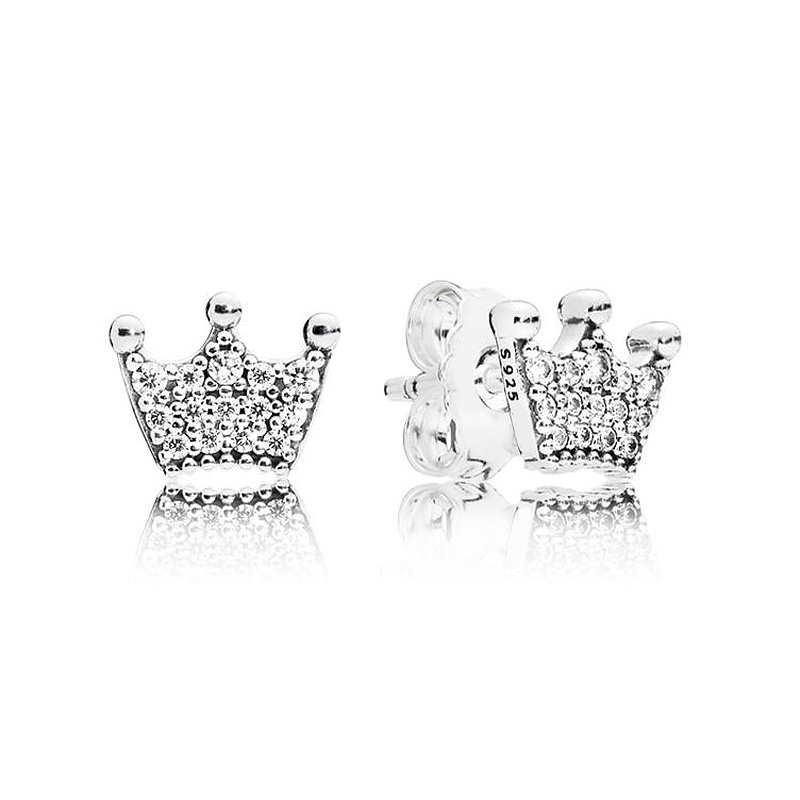Authentic 925 Sterling Silver Pandora Earring Enchanted Crown With Crystal Studs Earrings For Women Wedding Gift Fine JewelryAuthentic 925 Sterling Silver Pandora Earring Enchanted Crown With Crystal Studs Earrings For Women Wedding Gift Fine Jewelry